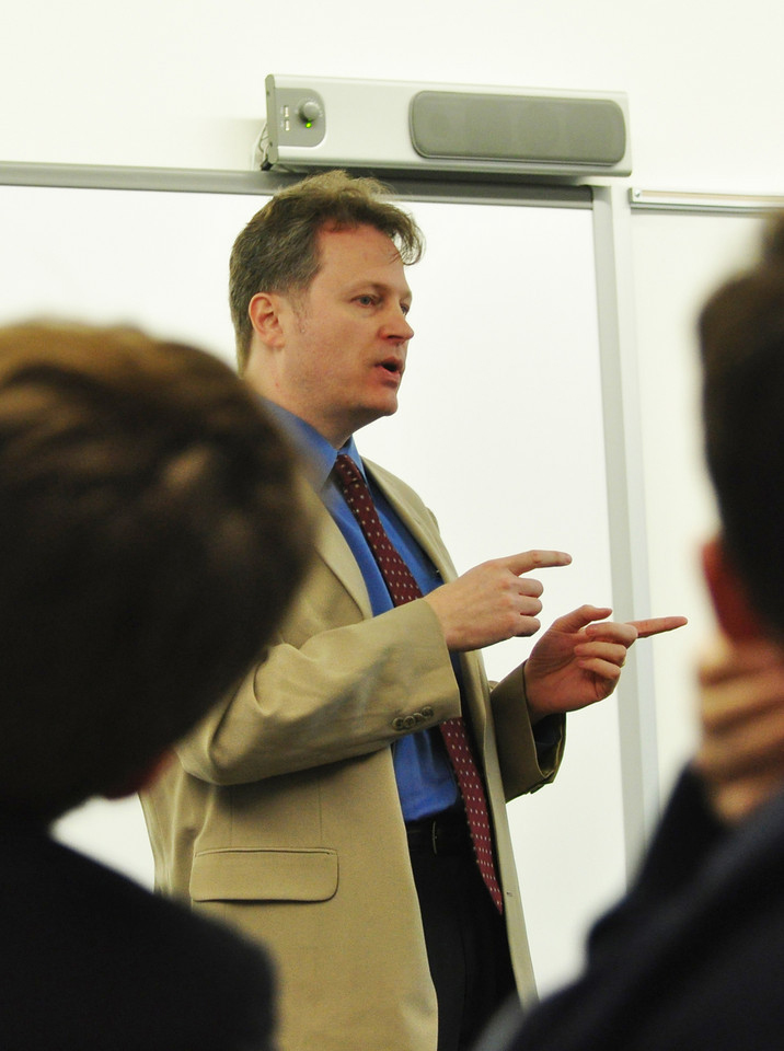 "Andrew C. Hubsch, author of ""Merion Mercies,"" speaking at the Haverford School, March 2011"